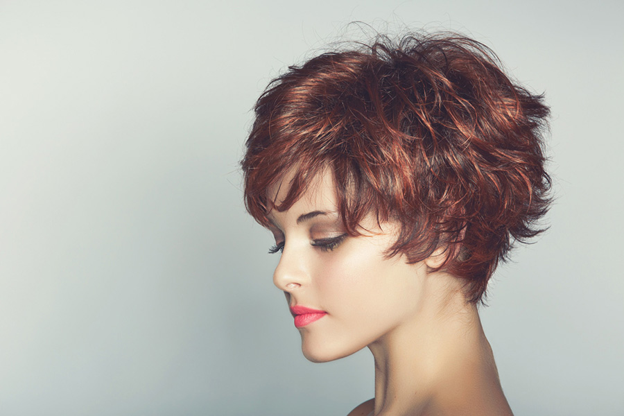Woman with short haircut